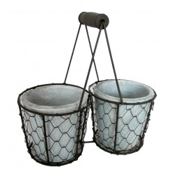 2 POTS DANS SUPPORT METAL