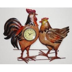 Pendule Coq et poule en métal